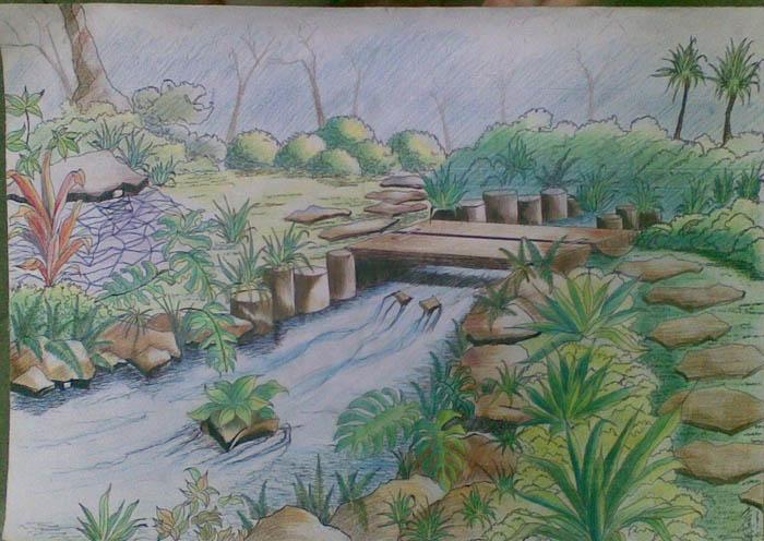 彩铅手绘简单风景