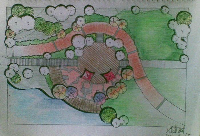 彩铅画的景观手绘图_河南室内设计网