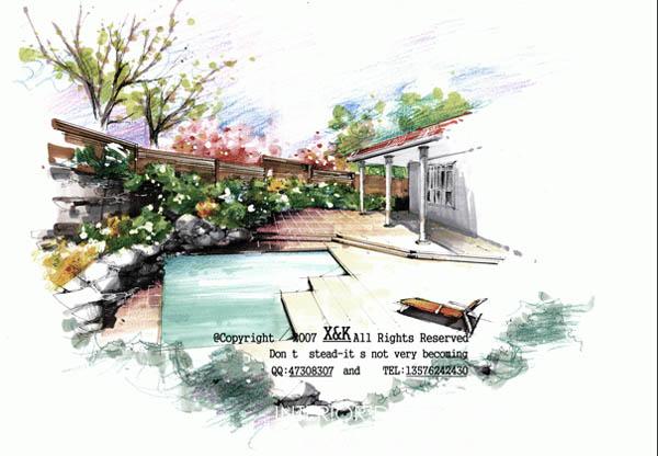 手绘别墅写生_河南室内设计网