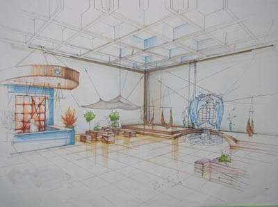 建筑手绘图_河南室内设计网