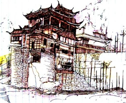 建筑手绘效果图_河南室内设计网