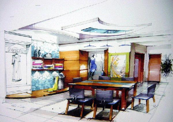 手绘图欣赏_河南室内设计网