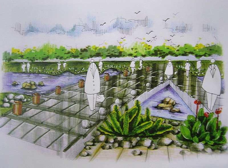 景观 手绘效果图 河南室内设计网