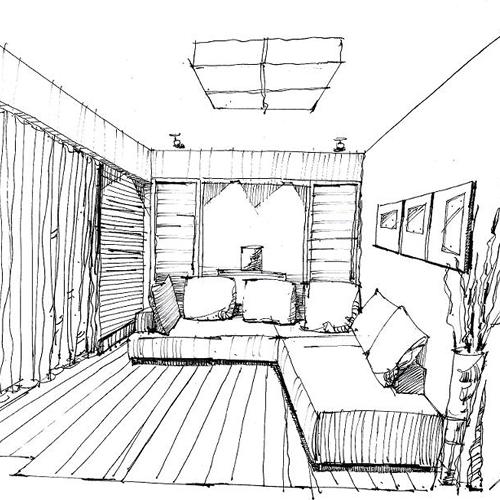 客厅设计速写_