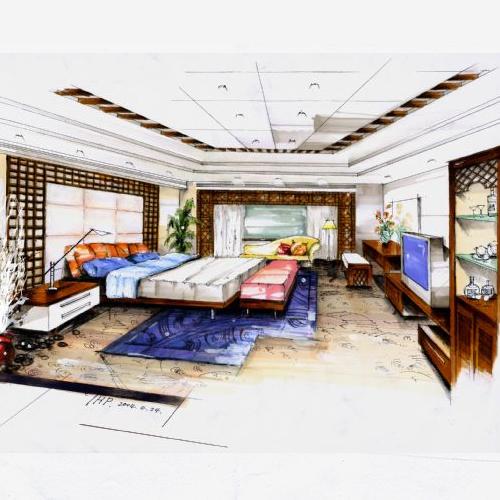 酒店客房手绘图_河南室内设计网