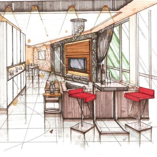 酒吧手绘_河南室内设计网