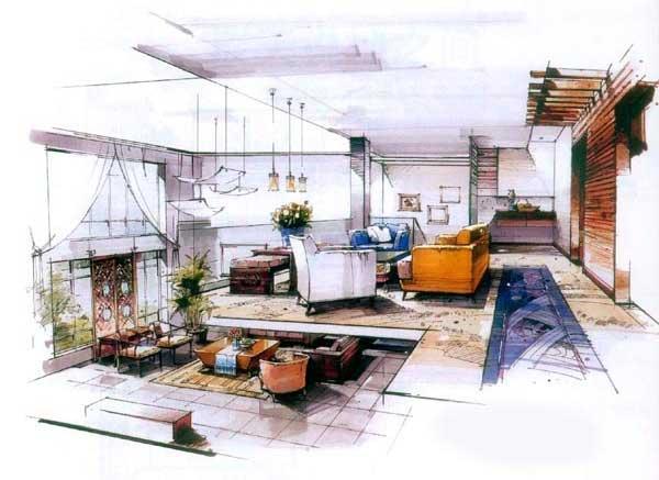 沙沛手绘图欣赏_河南室内设计网