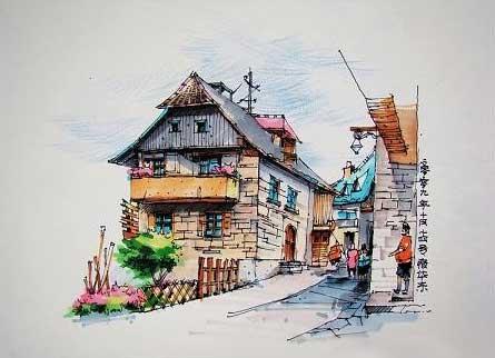 建筑手绘图 手绘图中技法比较 夏克梁手绘欣赏 手绘在设计中的作用