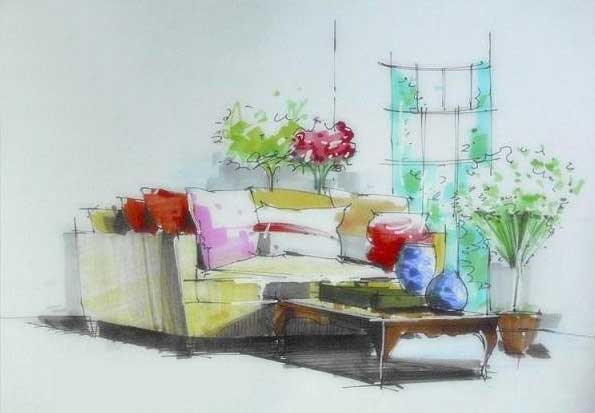 乔旭手绘图欣赏_河南室内设计网