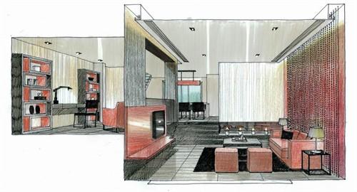 咖啡厅室内设计手绘图
