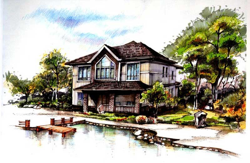 清华建筑手绘图_河南室内设计网